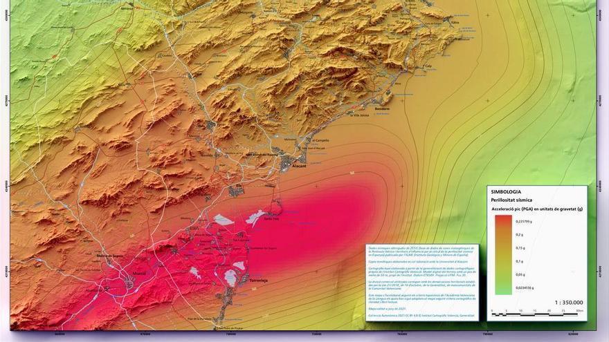 El mapa de riesgo sísmico de la Comunidad tiene su zona roja en la Vega Baja y el límite entre Alicante y Valencia