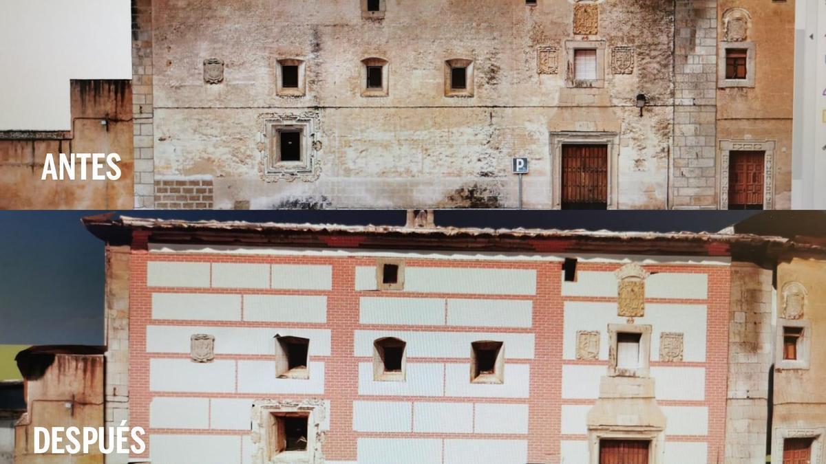 Comparativa de una foto actual y de cómo será el monasterio cuando se rescaten sus pinturas.