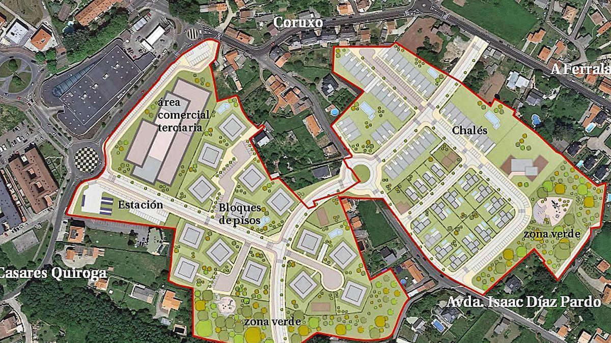 Diseño de la futura urbanización de Coruxo en Oleiros.