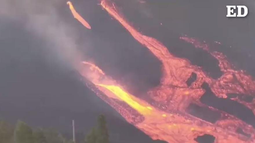 Se abre una nueva boca en el cono del volcán de La Palma