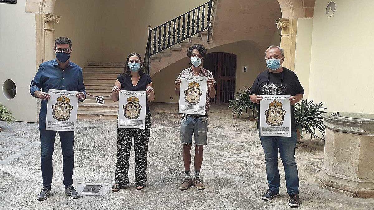Antoni Noguera, Isabel Pizà, Albert Pinya y Antoni Torres, ayer, en Can Oms.