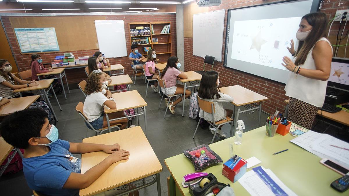 Una classe de l'escola Pla de Girona, aquest dilluns 14 de setembre.