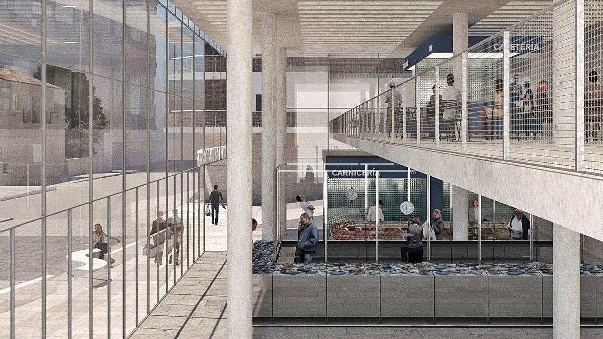 Infografía que avanza cómo será el interior del Mercado de Abastos de Sanxenxo. |   // FDV