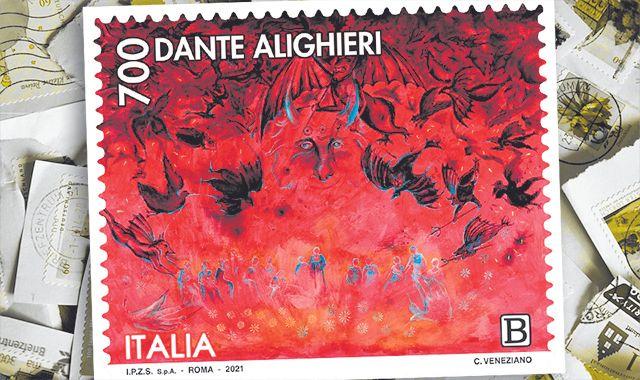 L'infern, evocant a Buffalmacco del pintor Corrado Veneziano emès per l'Estat italià a través del servei de Filatèlia i la Posta Italiana.