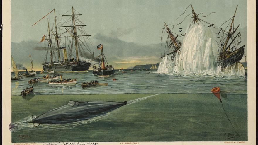 1889 El buque submarino Peral en el momento de lanzar un torpedo