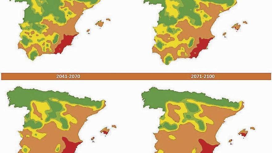 Mapas que muestran el incremento de la aridez en los próximos años.
