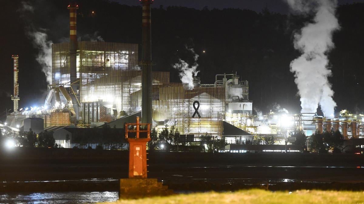 La fábrica de Ence, en una imagen nocturna