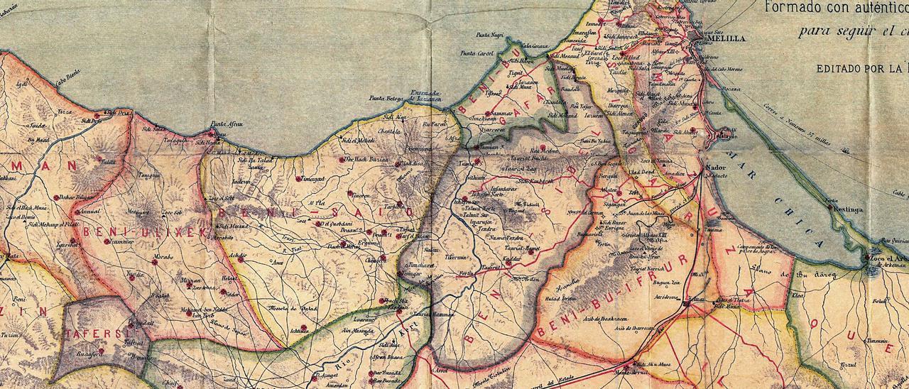 Mapa de Melilla en 1921,  con Annual y el Monte  Arruit marcados. c.a.melilla