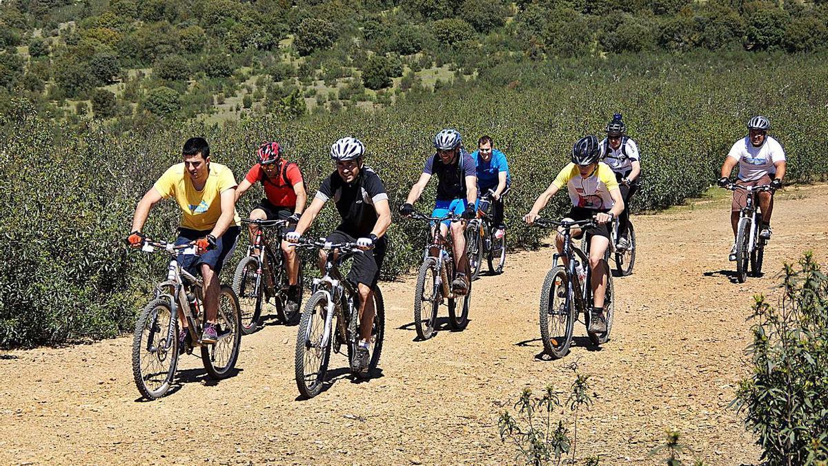 Varios ciclistas, antes de la pandemia, recorren una de las  rutas.