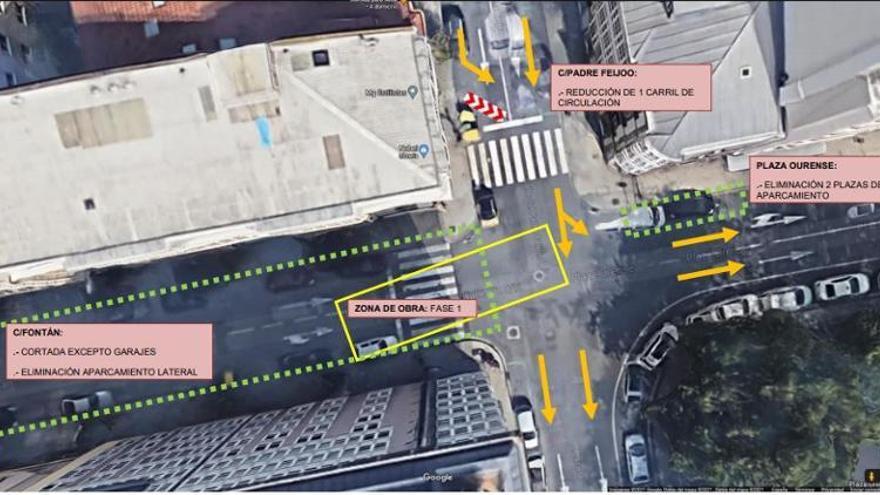 La calle Fontán, cortada al tráfico por obras hasta el 15 de mayo