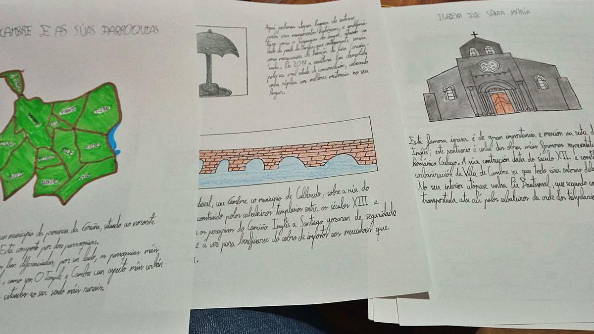Imágenes y textos sobre el mapa de Cambre, el puente de O Burgo y la iglesia románica.   | // LA OPINIÓN