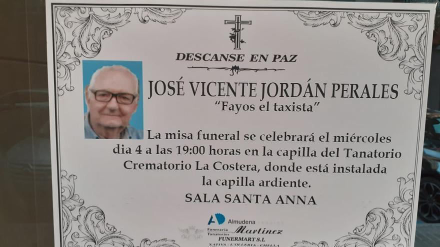 """Fallece a los 76 años en Xátiva José Vicente Jordán Perales, conocido como """"Fayos el taxista"""""""
