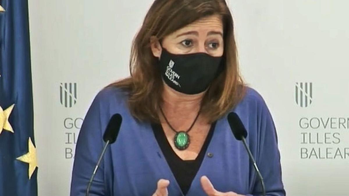 Armengol, durante una comparecencia ante los medios de comunicación.