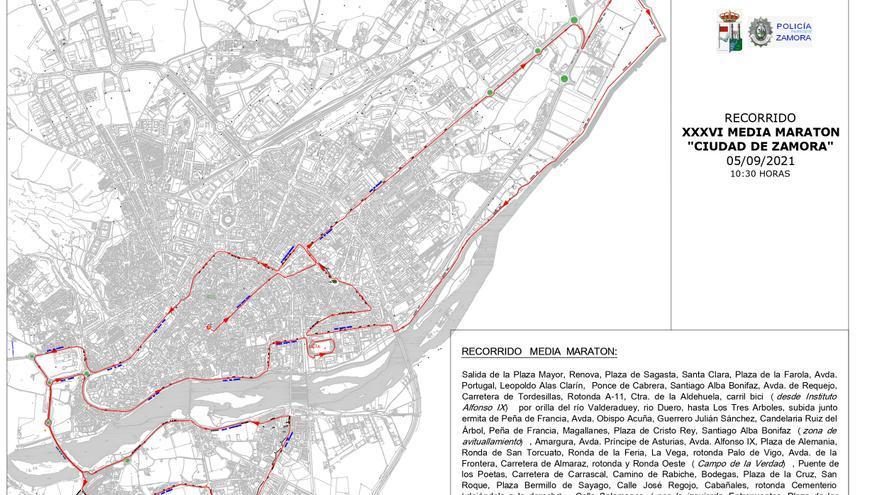 Cortes de tráfico en Zamora por la media maratón