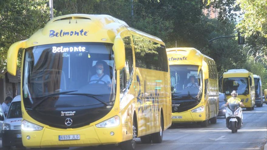 Autobuses escolares protestan en caravana en Murcia en el segundo día de huelga