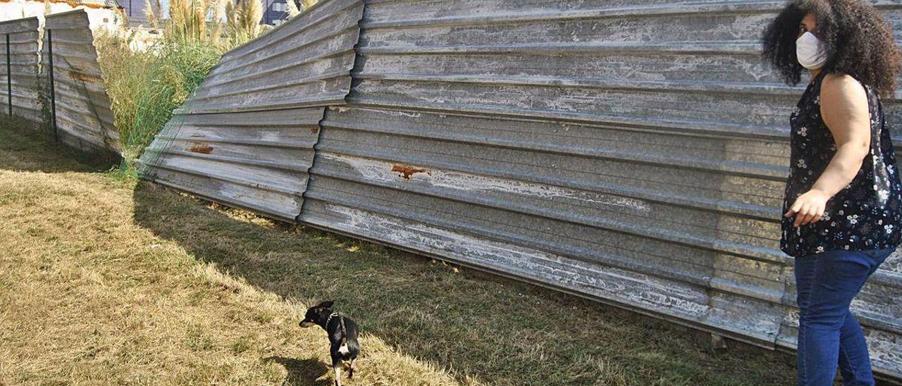 Ana Belén Fernández, junto a las vallas del parque de perros de Lugones.
