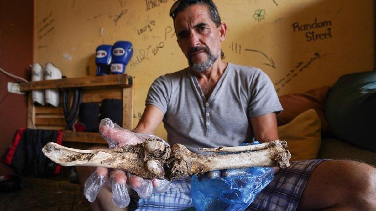 Francisco Javier guarda una pierna en el congelador