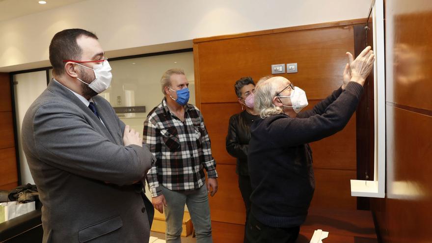 """La escultura """"desequilibrada"""" de los salones oficiales de Adrián Barbón y su Gobierno"""