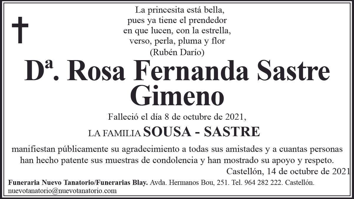 Dª Rosa Fernanda Sastre Gimeno
