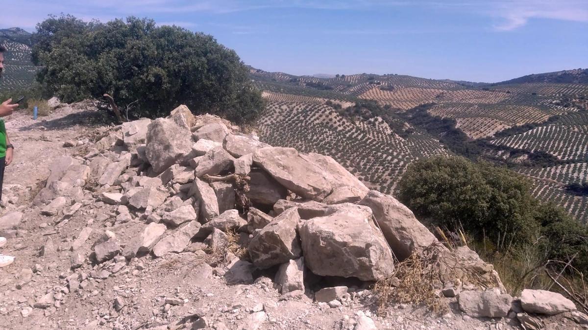Estado en el que ha quedado del yacimiento de La Viñuela en Almedinilla.