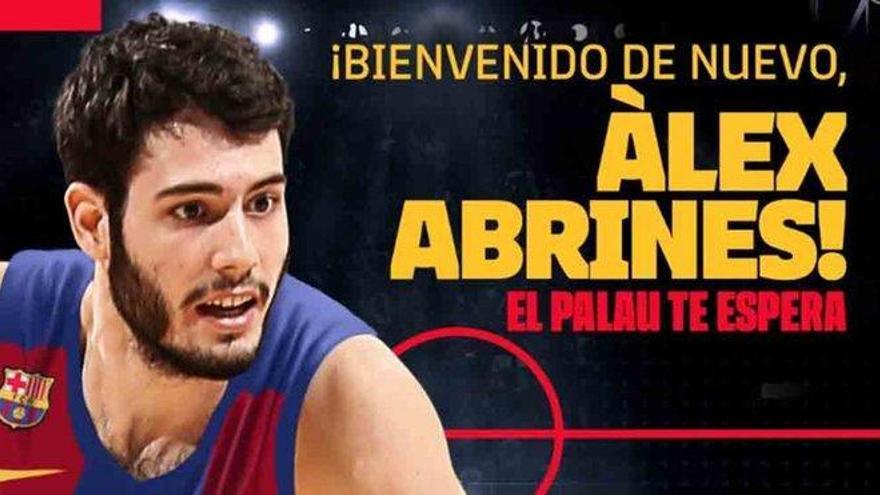 Àlex Abrines retorna al Barça amb un contracte per dos anys