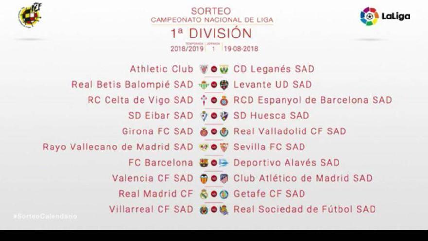 Este es el calendario completo de LaLiga 2018/19