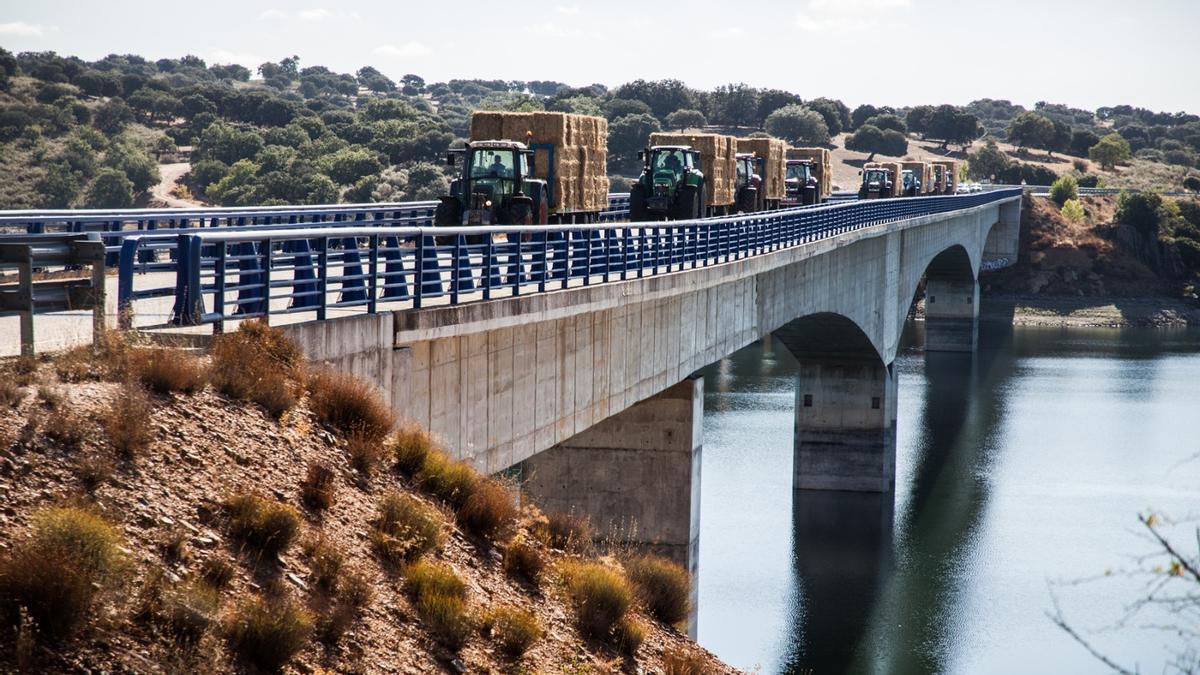 Cruce de la caravana de tractores de paja por el puente sobre el embalse del Esla