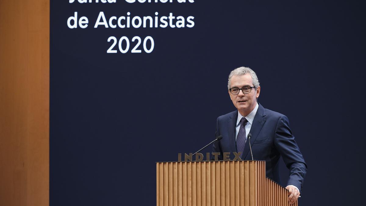 Pablo Isla, presidente de Inditex, en la junta general de accionistas