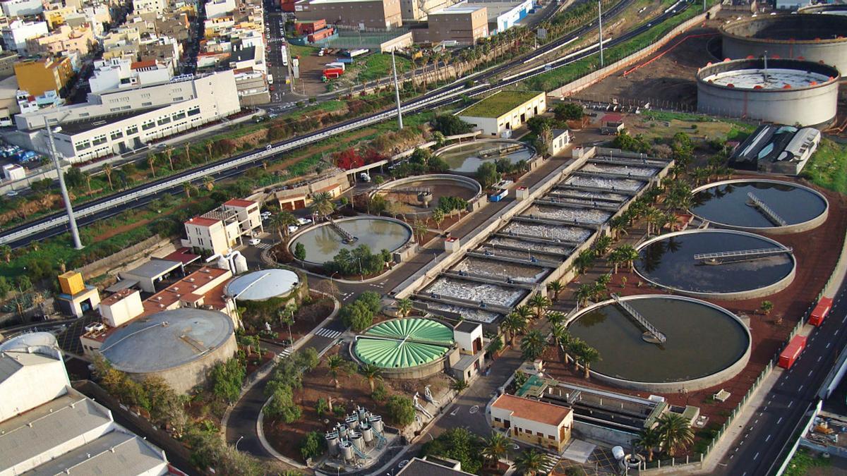 Panorámica aérea de la Estación Depuradora de Aguas Residuales.