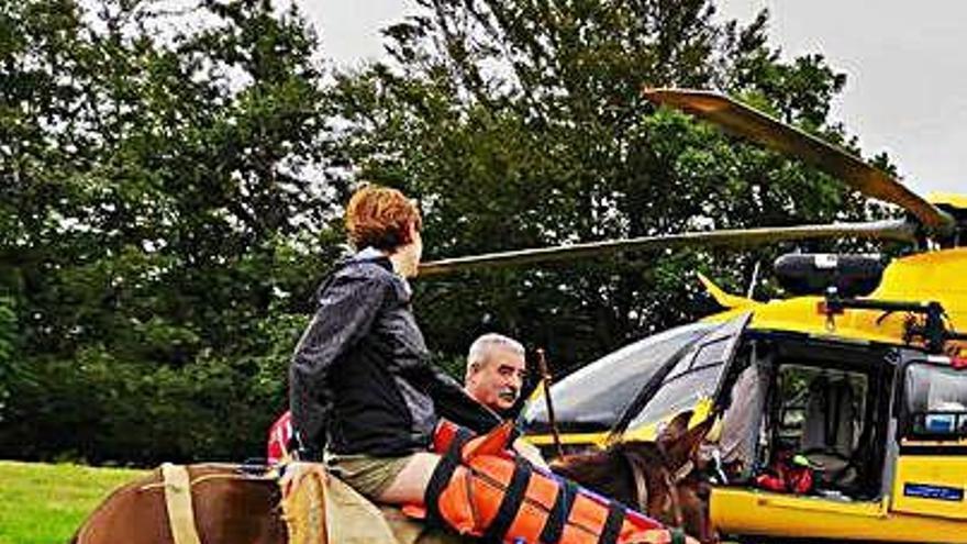 Una senderista, evacuada en caballo al accidentarse en Ponga