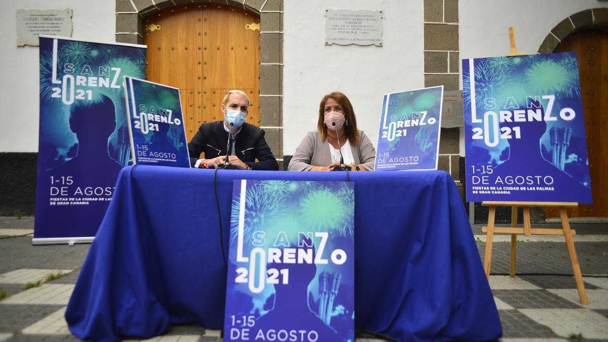 José García y Mercedes Sanz, durante la presentación de las fiestas de San Lorenzo.