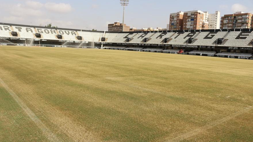 El FC Cartagena comienza la resiembra del césped del Cartagonova