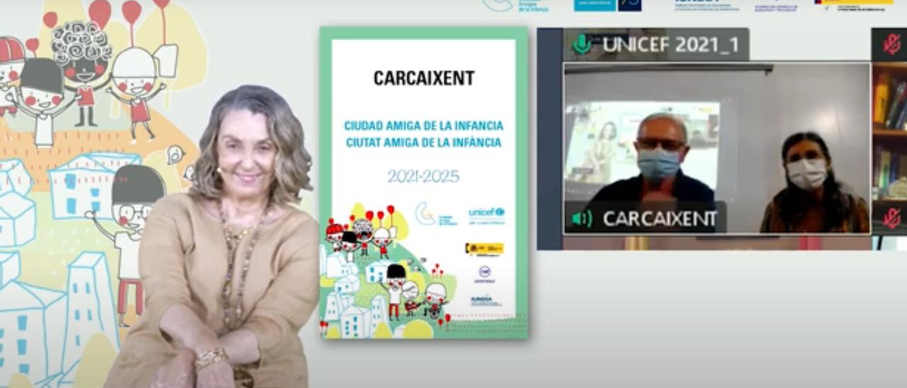 Captura de la entrega virtual de premios  de UNICEF el lunes | LEVANTE-EMV