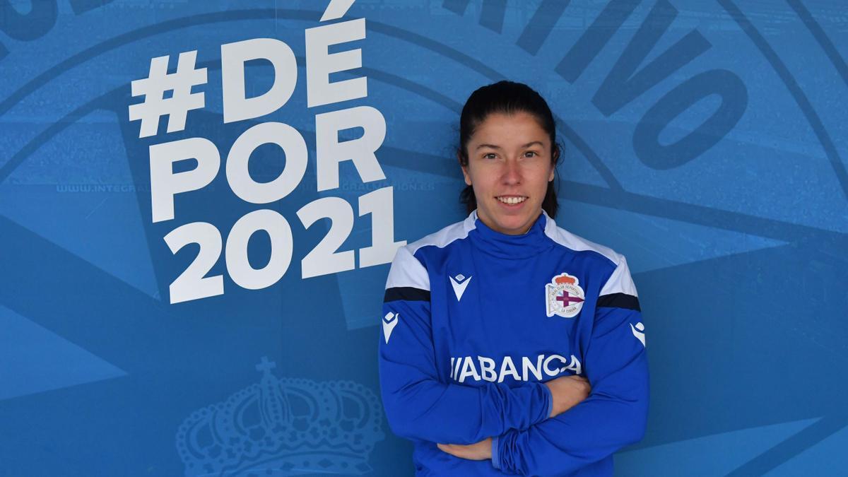'Peke', con la equipación del Deportivo Abanca.