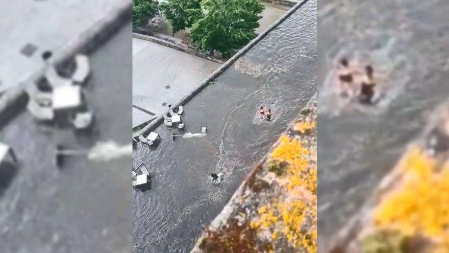 Tormenta espectacular en Ourense: el Puente Romano se convierte en una piscina