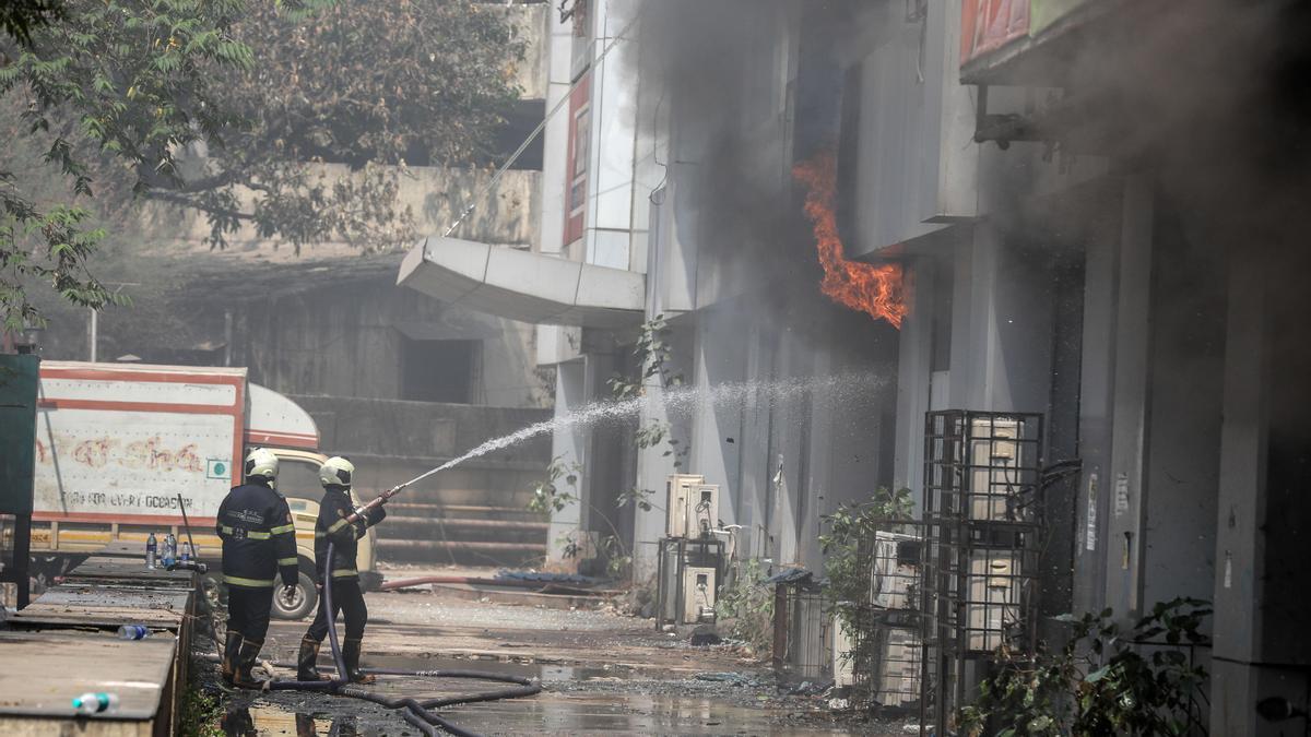 Imagen de archivo del incendio de un hospital covid.