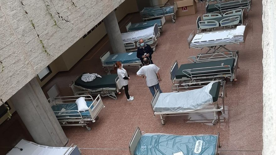 El lucernario del Hospital de Sant Joan ya tiene preparadas 45 camas para pacientes covid