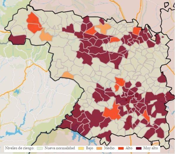 Incidencia de los casos de coronavirus en 14 días por cien mil habitantes por localidades