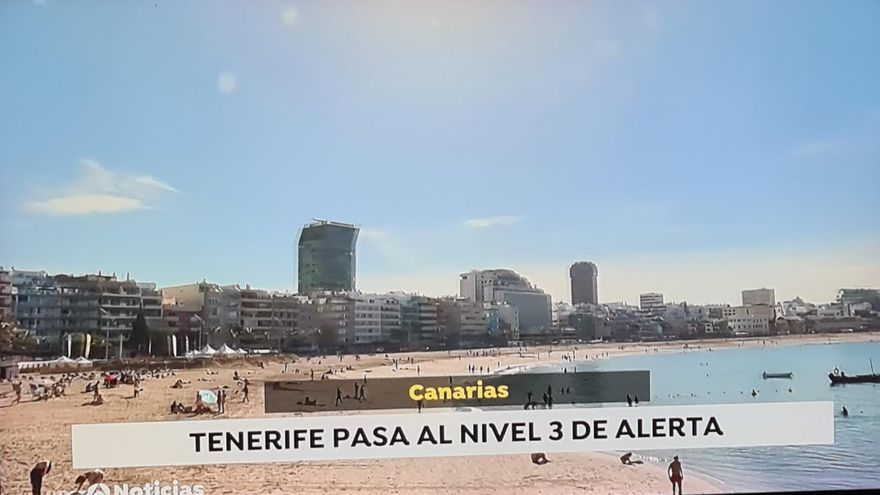 Antena 3 coloca a Las Canteras en Tenerife en una información sobre el nivel 3 de alerta Covid