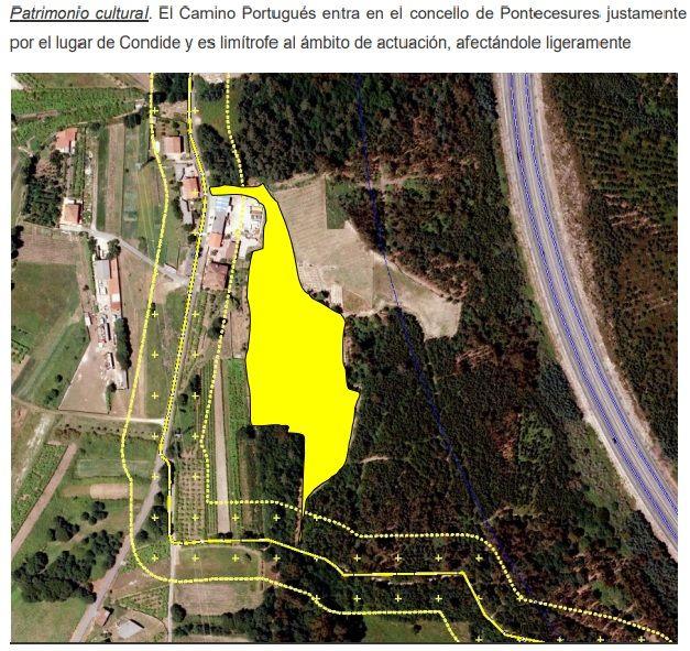 Plano incluido en el expediente en el que se muestra la ubicación de la finca y el trazado del Camiño Portugués.