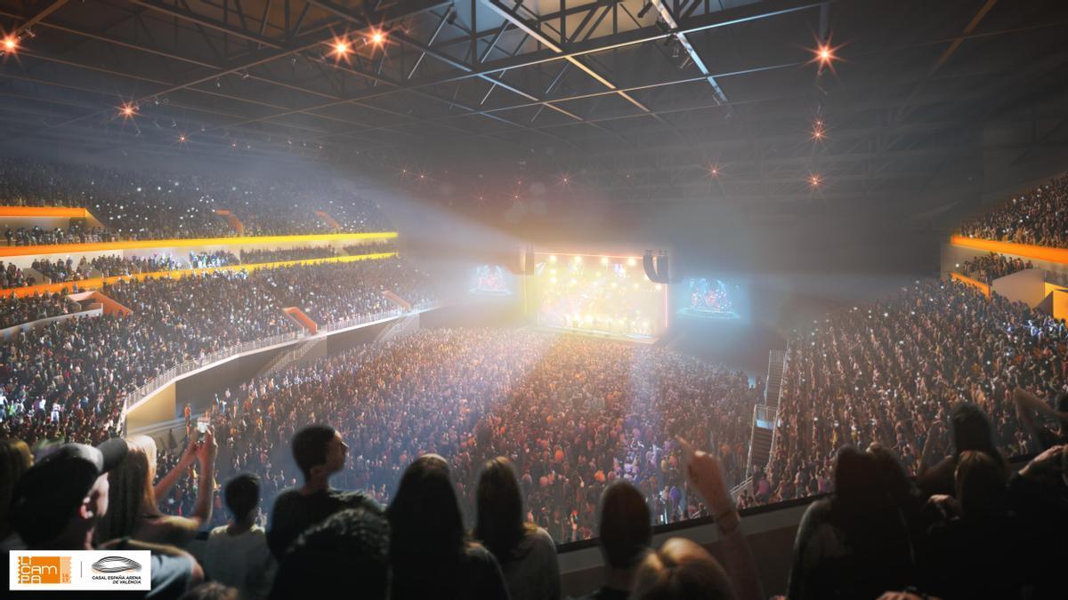 Así será el interior del Casal España Arena de València durante los conciertos.