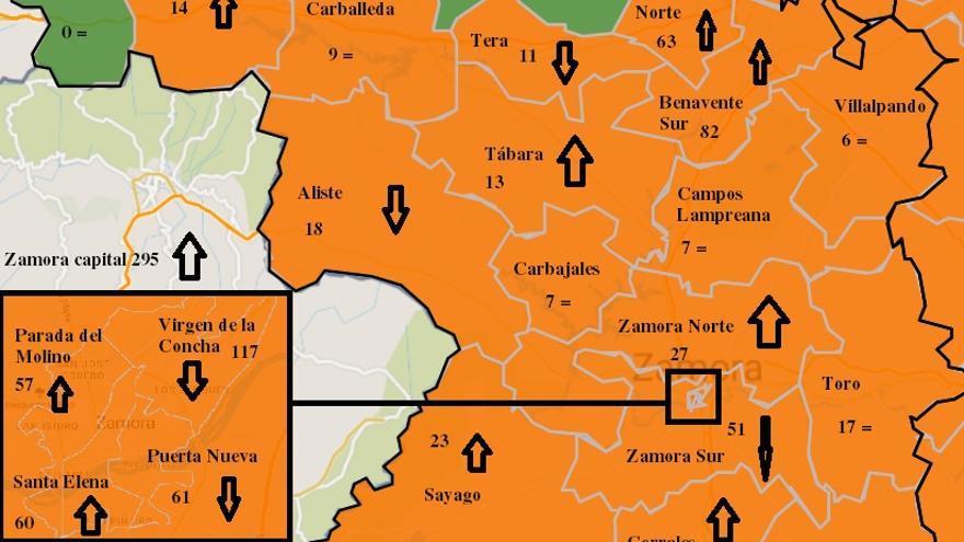 Mapa COVID de Zamora: Fuerte aumento de casos en el centro de salud Virgen de la Concha