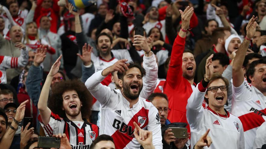 La afición de River celebra su victoria en la Copa Libertadores