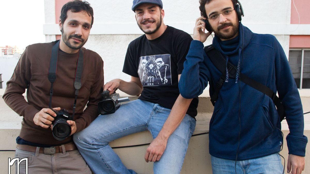 The three authors of the documentary, Fernando Martín, Magec Betancor and Alberto Suárez