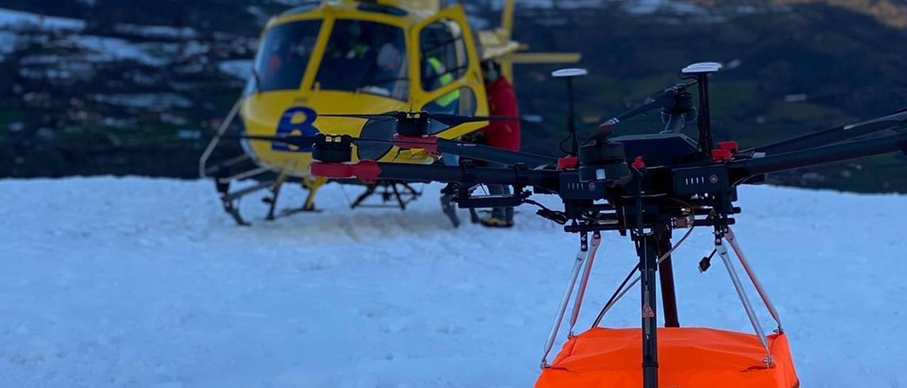 El georradar montado en el dron que se utilizó en San Isidro.