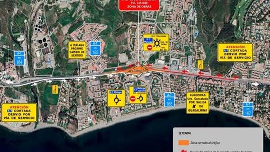 Cortarán la autovía A-7 la madrugada del 25 y 27 de julio en el enlace de Cancelada en Estepona