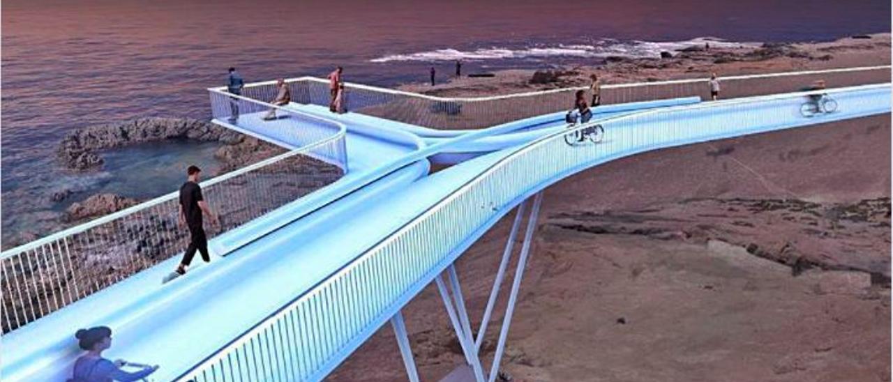 Recreación virtual de la pasarela del acceso sur.