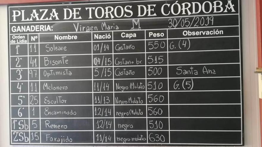 Cinco toros de Virgen María y uno de Santa Ana para Ferrera, Emilio de Justo y Ginés Marín