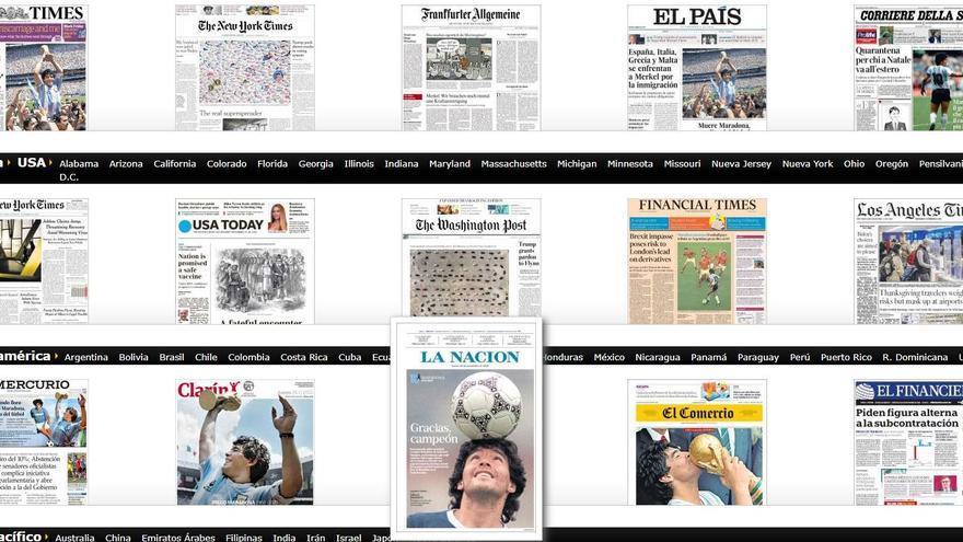 Las primeras páginas sobre Maradona que han huido del tópico