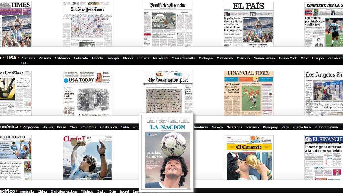Primeras páginas de periódicos de todo el mundo sobre la muerte de Maradona